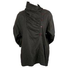 1980's ISSEY MIYAKE cotton shirt with draped neckline & asymmetrical closure