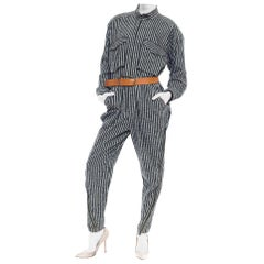 1980S ISSEY MIYAKE Dark Green & White Striped Cotton Utility Jumpsuit (Belt Not