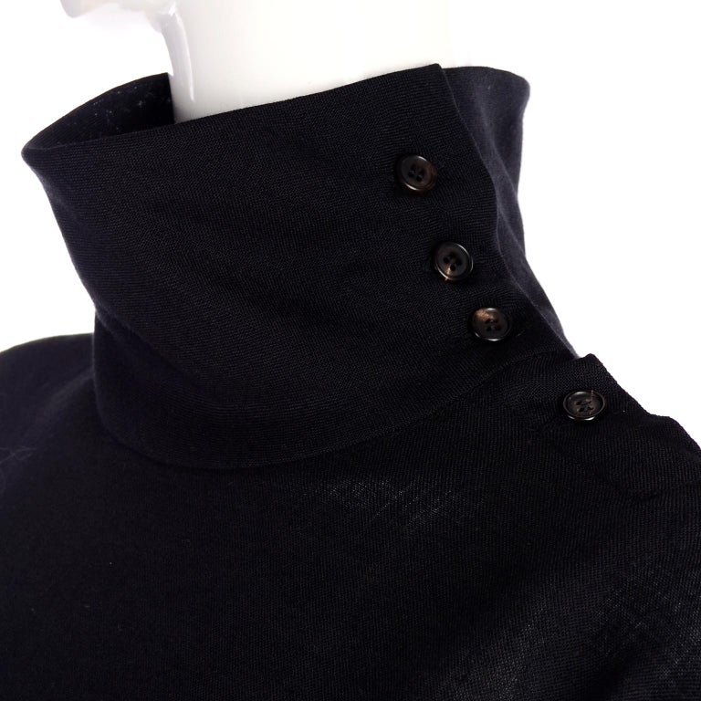 1980s Issey Miyake Plantation Dress in Black Wool in Iconic Tent Style For Sale 1