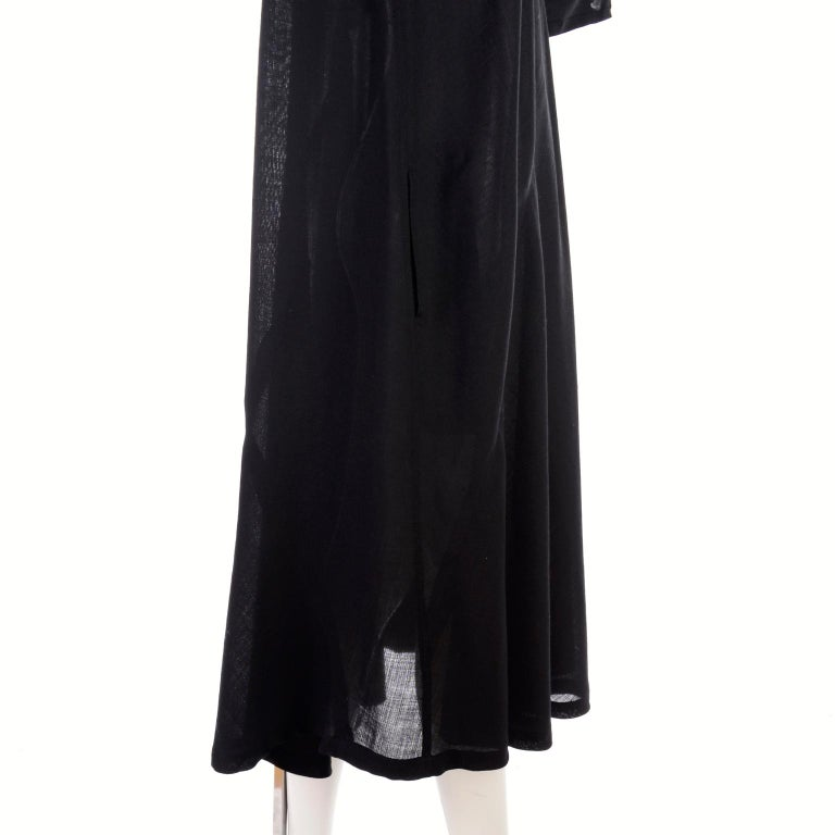 1980s Issey Miyake Plantation Dress in Black Wool in Iconic Tent Style For Sale 2