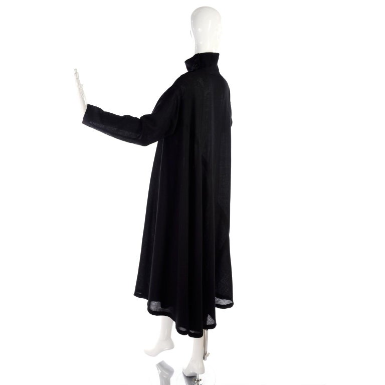 1980s Issey Miyake Plantation Dress in Black Wool in Iconic Tent Style For Sale 3