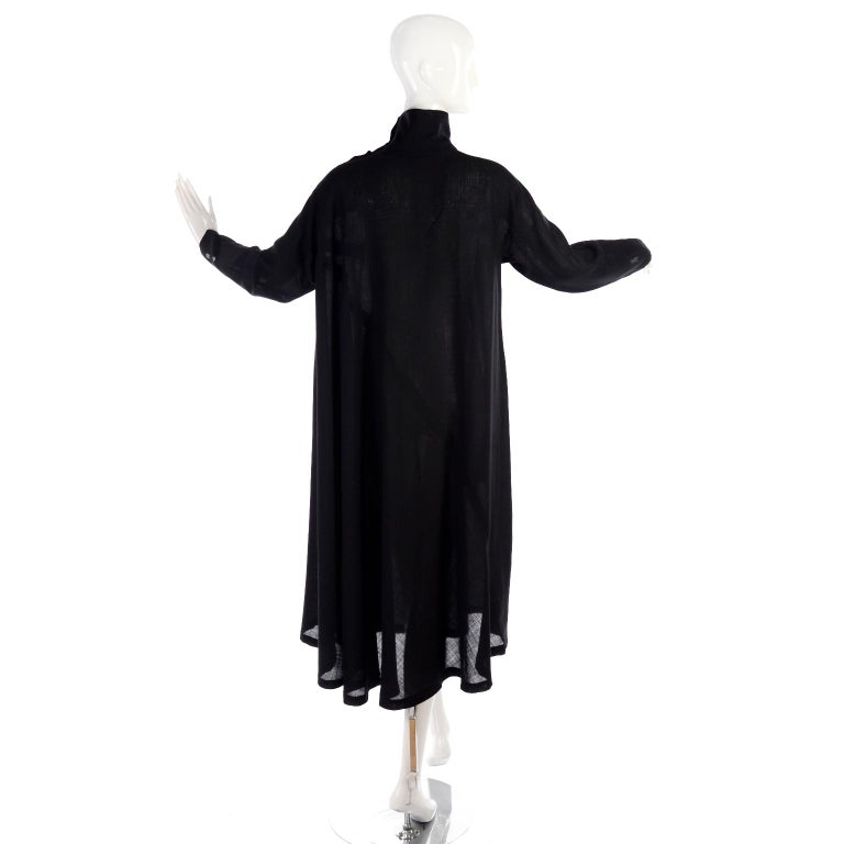 1980s Issey Miyake Plantation Dress in Black Wool in Iconic Tent Style For Sale 4