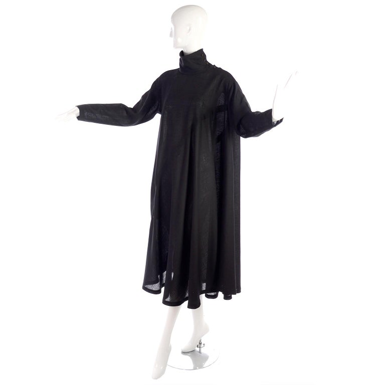 1980s Issey Miyake Plantation Dress in Black Wool in Iconic Tent Style For Sale 5