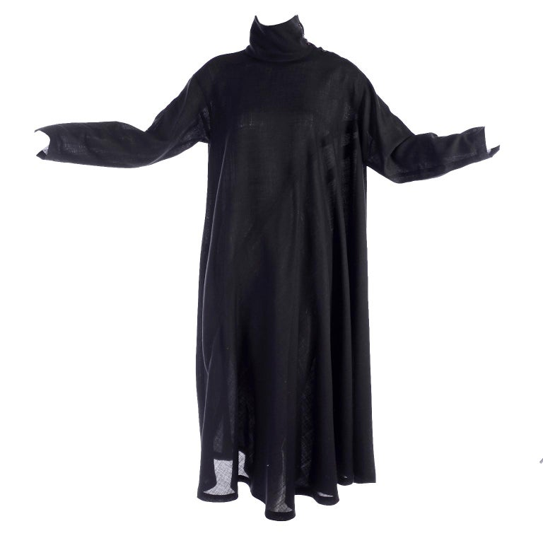 1980s Issey Miyake Plantation Dress in Black Wool in Iconic Tent Style For Sale