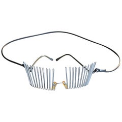 1980's ISSEY MIYAKE silver wire art 'glasses' with rubber neck strap