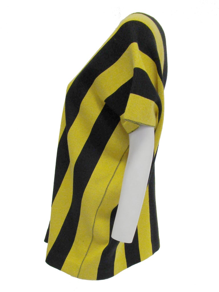 1980s Issey Miyake Yellow and Black Diamond and Stripe Cotton Knit Top In Good Condition For Sale In Houston, TX