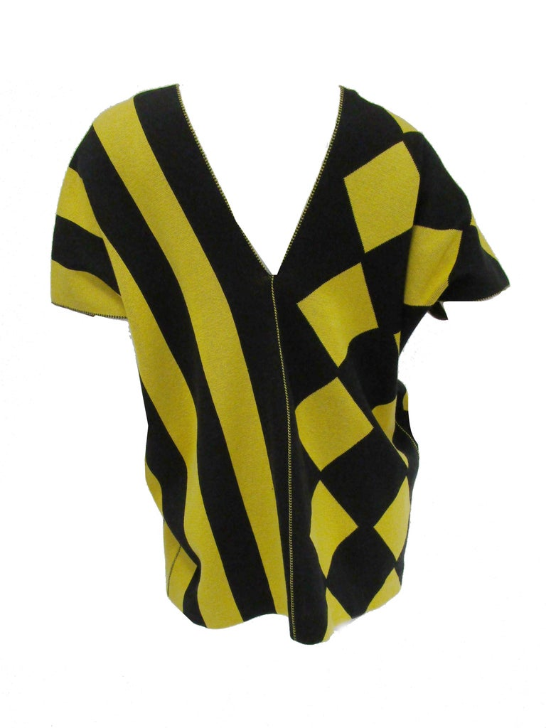 Women's or Men's 1980s Issey Miyake Yellow and Black Diamond and Stripe Cotton Knit Top For Sale