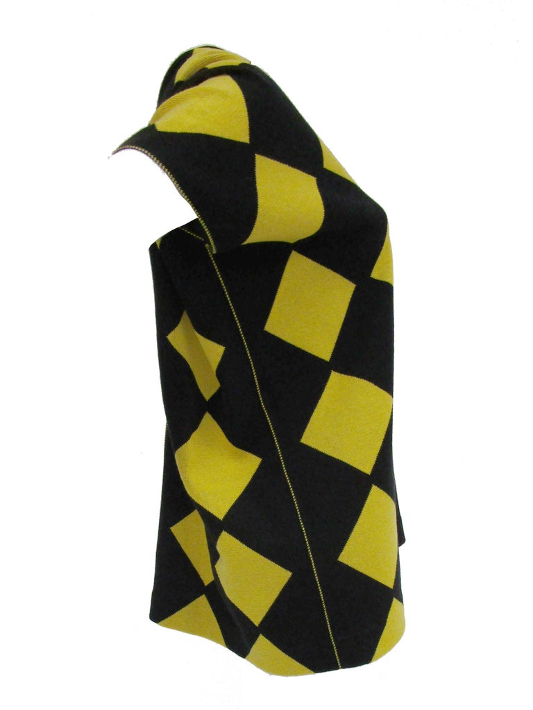 1980s Issey Miyake Yellow and Black Diamond and Stripe Cotton Knit Top For Sale 1