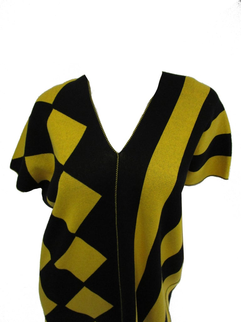 1980s Issey Miyake Yellow and Black Diamond and Stripe Cotton Knit Top For Sale 2