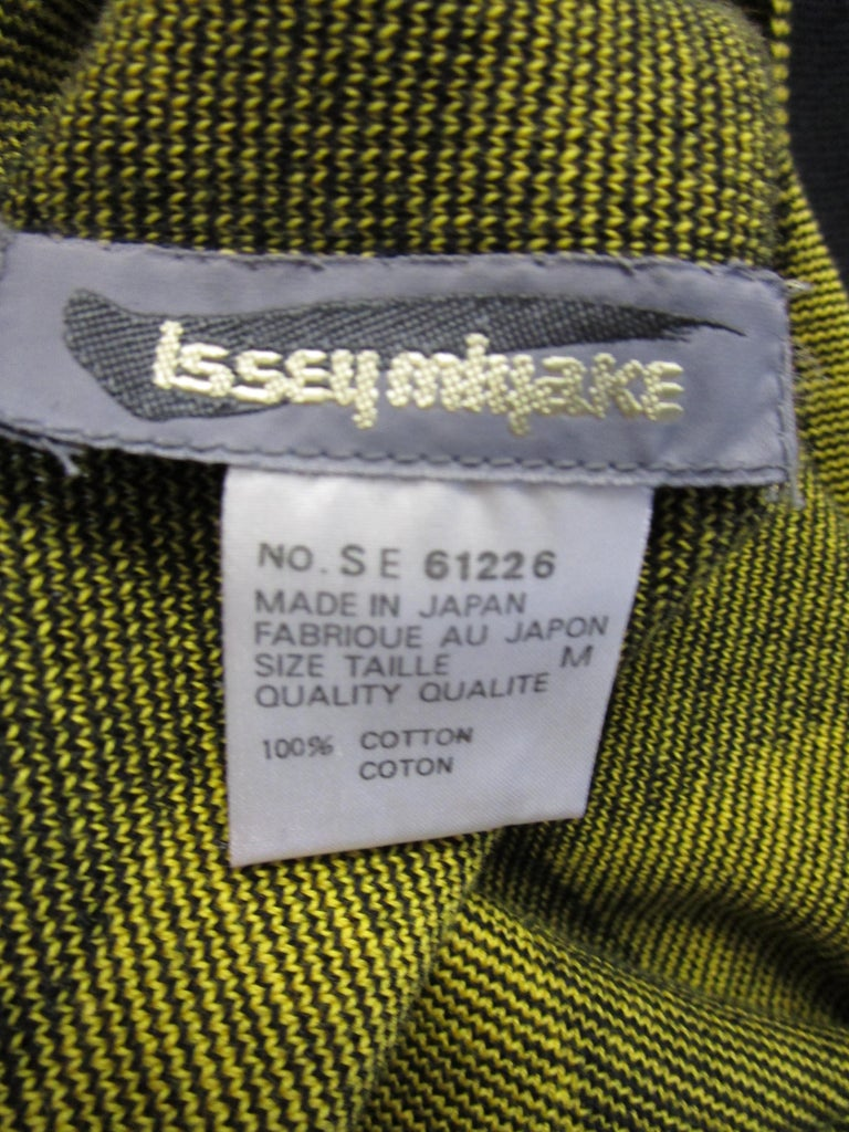 1980s Issey Miyake Yellow and Black Diamond and Stripe Cotton Knit Top For Sale 3