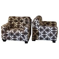 1980s Italian Armchairs Geometric Fabric, Wood Details