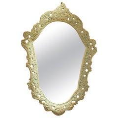 1980s Italian Baroque Style Pottery Mirror