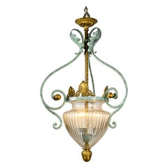 1980s Italian Banci Firenze Glass Chandelier Gilt and Green Wrought Iron Lantern