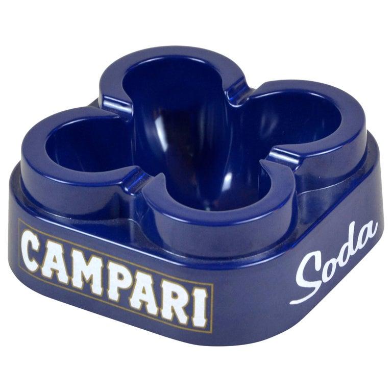 1980s Italian Blue Original Campari Soda Ashtray in Rigid Plastic by Thun Design For Sale