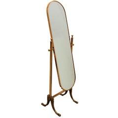 1980s Italian Brass Hollywood Regency Floor Cheval Full Lenght Mirror