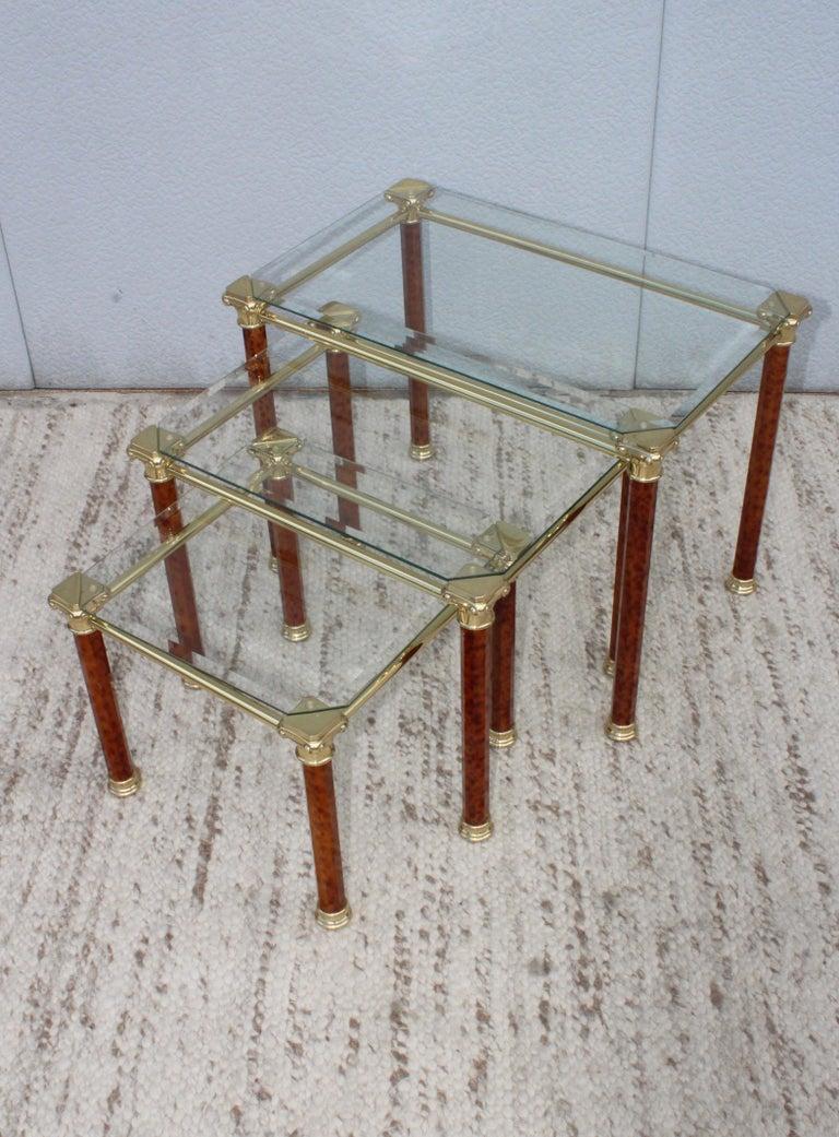 1980s modern brass plated Italian nesting tables.