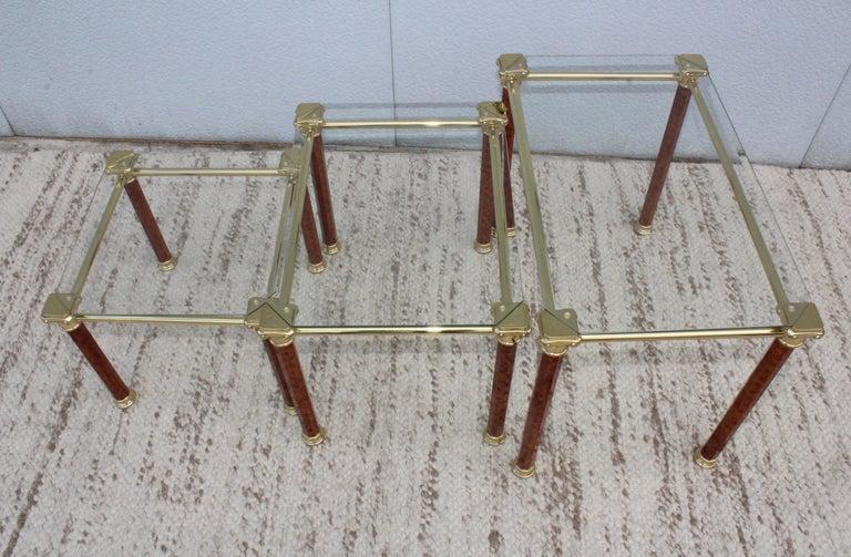 Mid-Century Modern 1980s Italian Brass Nesting Tables For Sale