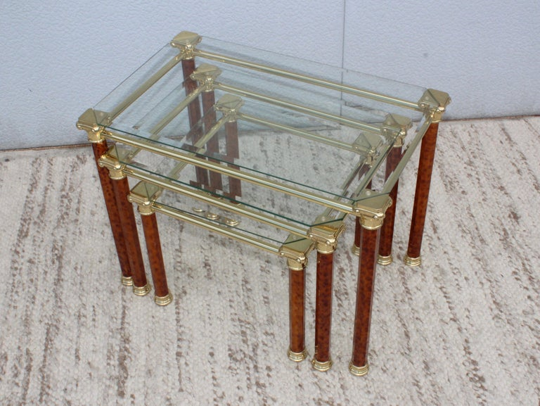 American 1980s Italian Brass Nesting Tables For Sale