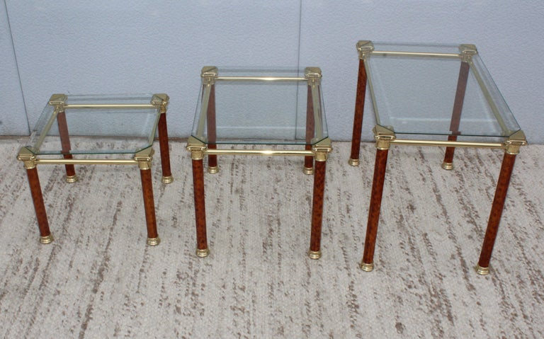 1980s Italian Brass Nesting Tables In Good Condition For Sale In New York City, NY