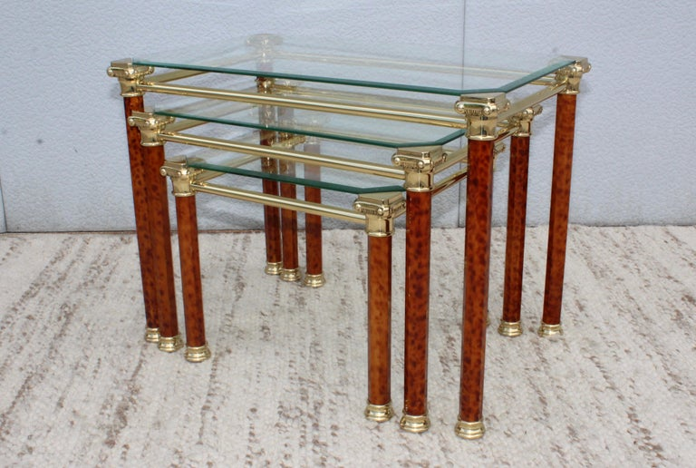 20th Century 1980s Italian Brass Nesting Tables For Sale