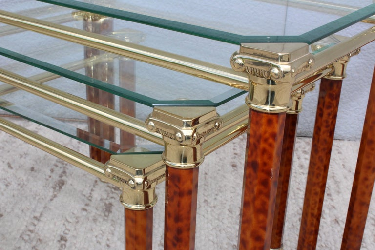 1980s Italian Brass Nesting Tables For Sale 1