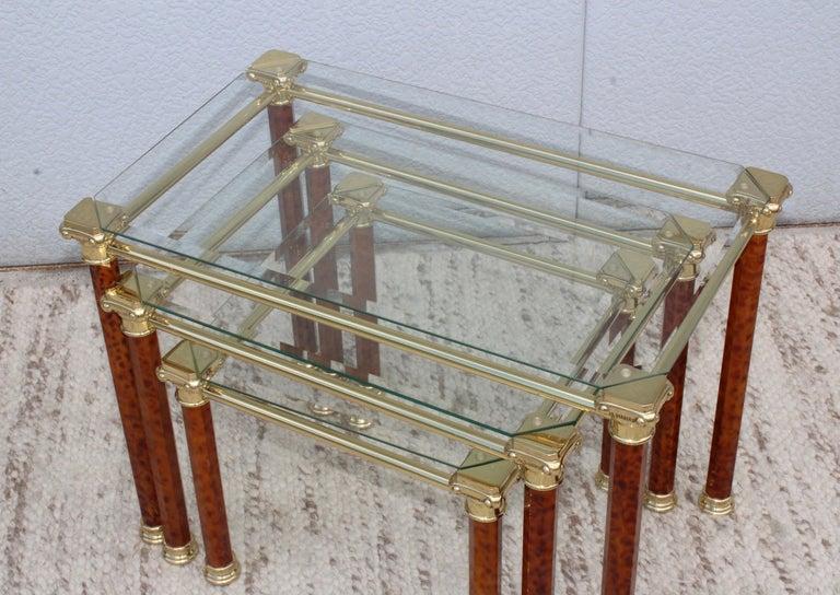 1980s Italian Brass Nesting Tables For Sale 2