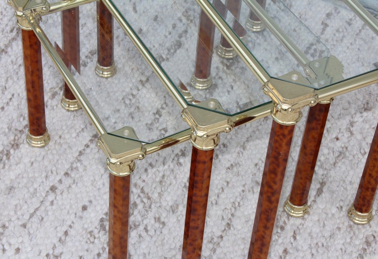 1980s Italian Brass Nesting Tables For Sale 3