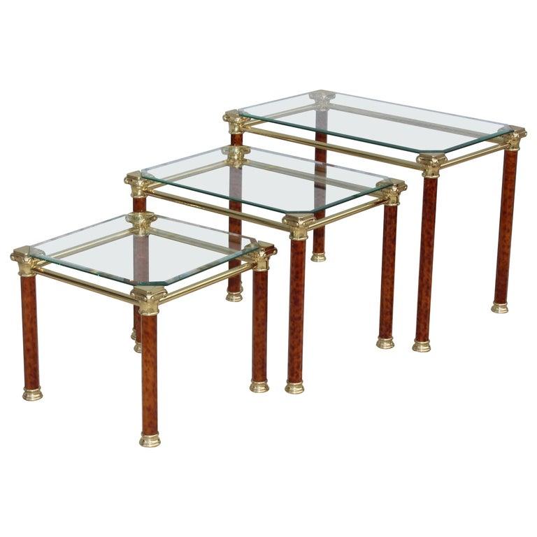 1980s Italian Brass Nesting Tables For Sale