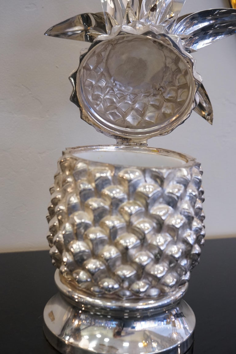 1980s Italian Chrome Large Scale Pineapple Ice Bucket In Good Condition For Sale In Aspen, CO