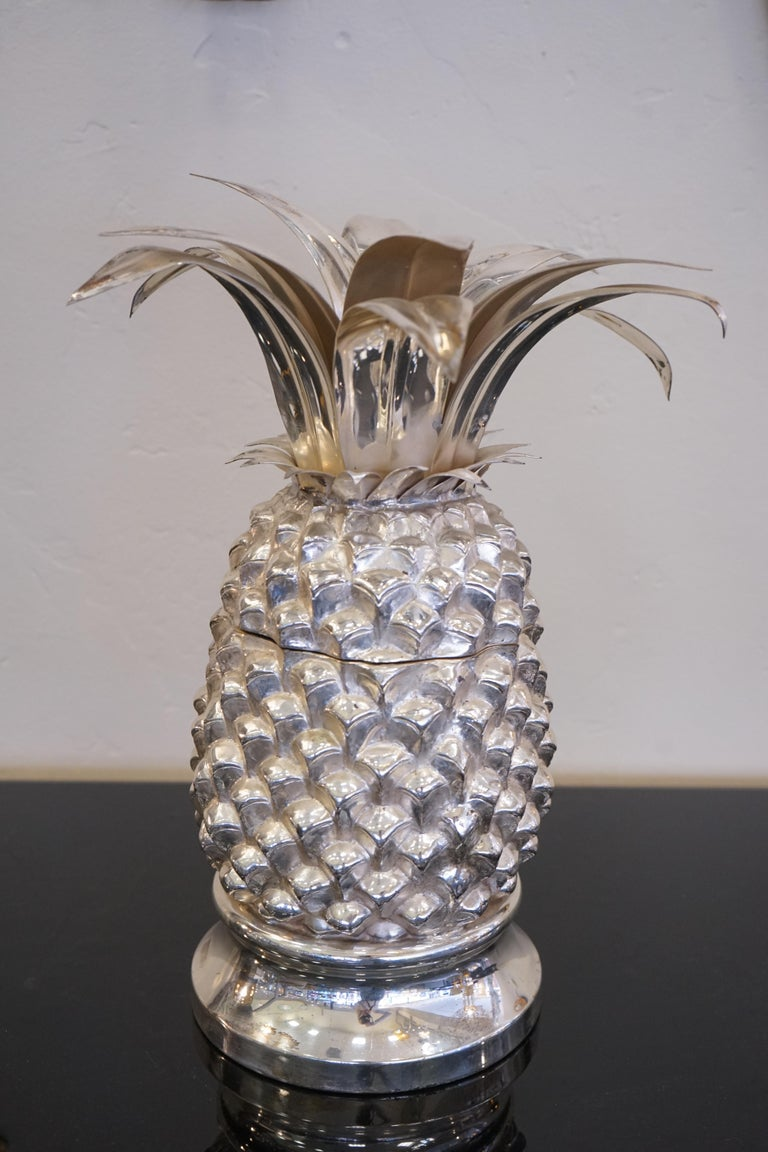Late 20th Century 1980s Italian Chrome Large Scale Pineapple Ice Bucket For Sale