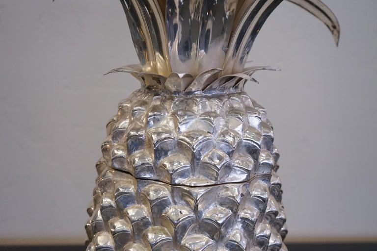 Metal 1980s Italian Chrome Large Scale Pineapple Ice Bucket For Sale