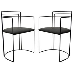 1980s Italian Design and Memphis Milano Style All in Black Pair of Chairs