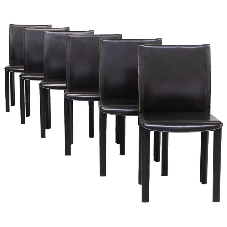 1980s Italian Design Leather Dining Chairs for Arper Set/6 For Sale