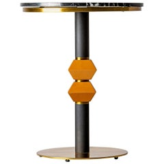 1980s Italian Design Style Round Black Marble and Gilt Pedestal Table