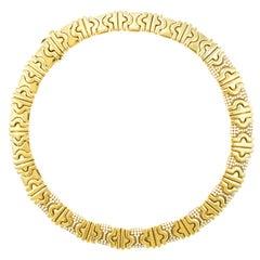 1980s Italian Diamond 18 Karat Gold Necklace