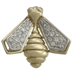1980s Italian Diamond and Yellow Gold 'Bee' Brooch