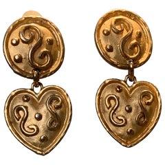 1980s Italian Gold-Tone Heart Drop Earrings W/ Etruscan-Inspired Relief Work