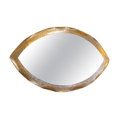 1980s Italian Hammered Metal and Gilded Oval Mirror