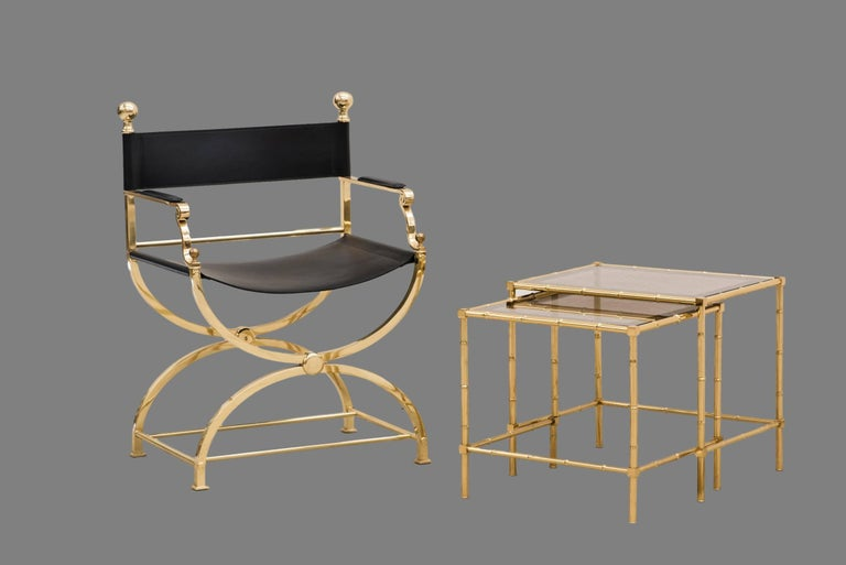 1980s Italian Hollywood Regency Brass and Leather Savonarola Director's Chair For Sale 1