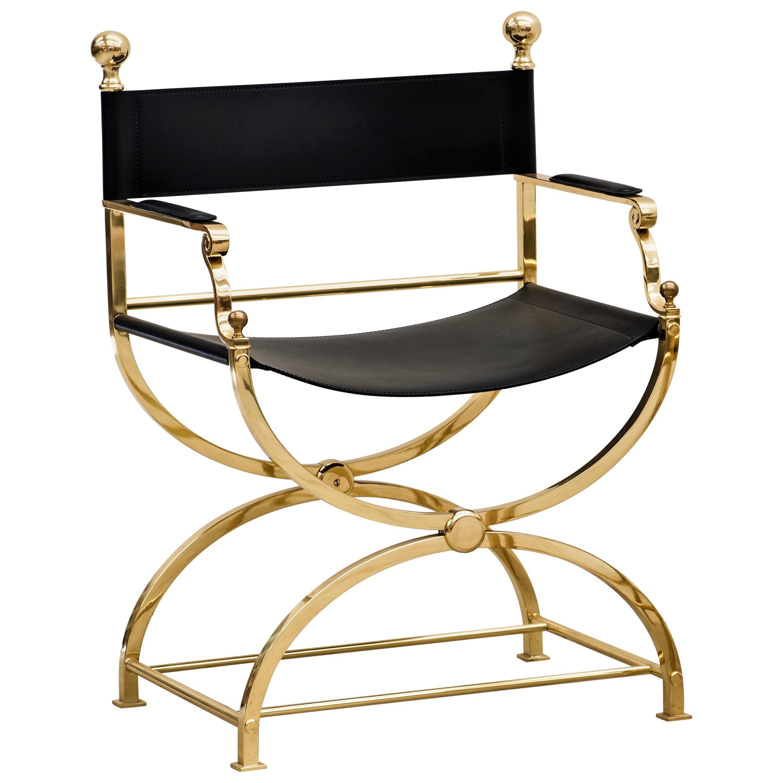 1980s Italian Hollywood Regency Brass and Leather Savonarola Director's Chair