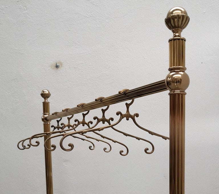 1980s Italian Hollywood Regency Neoclassical Solid Brass Coat Hangers For Sale 4