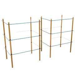 1980s Italian Hollywood Regency Style Brass and Glass Three Shelves Side Tables