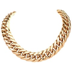 10143558f 1980s Italian Large Curb Link 18 Karat Yellow Gold Chocker Necklace