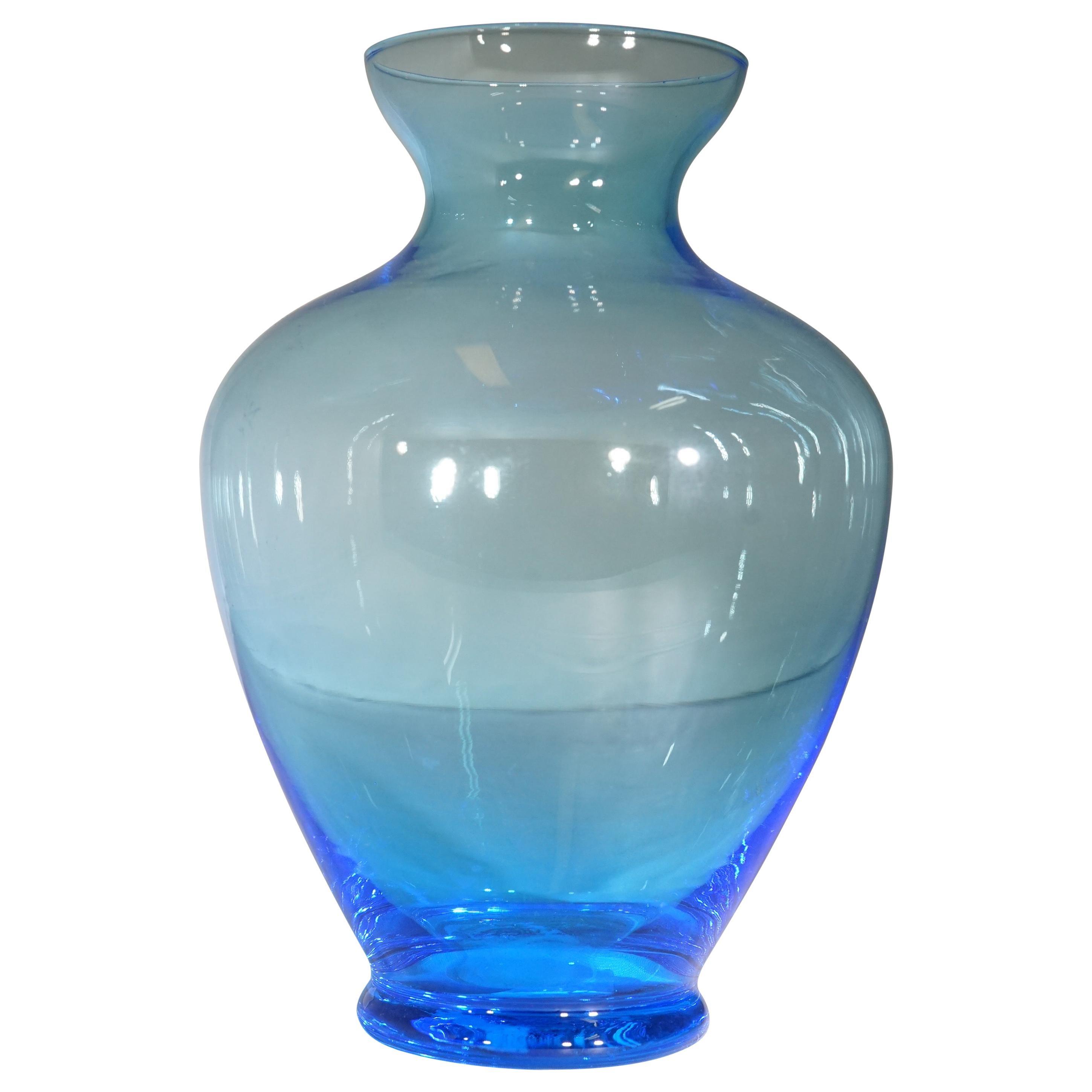 1980s Italian Light Blue Murano Glass Vase