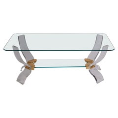 1980s Italian Lucite, Glass and Brass Cocktail Table