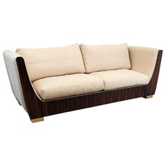 1980s Italian Macassar Ebony and Brass Art Deco 3-Seat Sofa