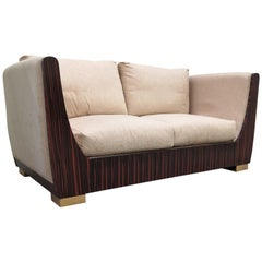 1980s Italian Macassar Ebony and Brass Art Deco Sofa