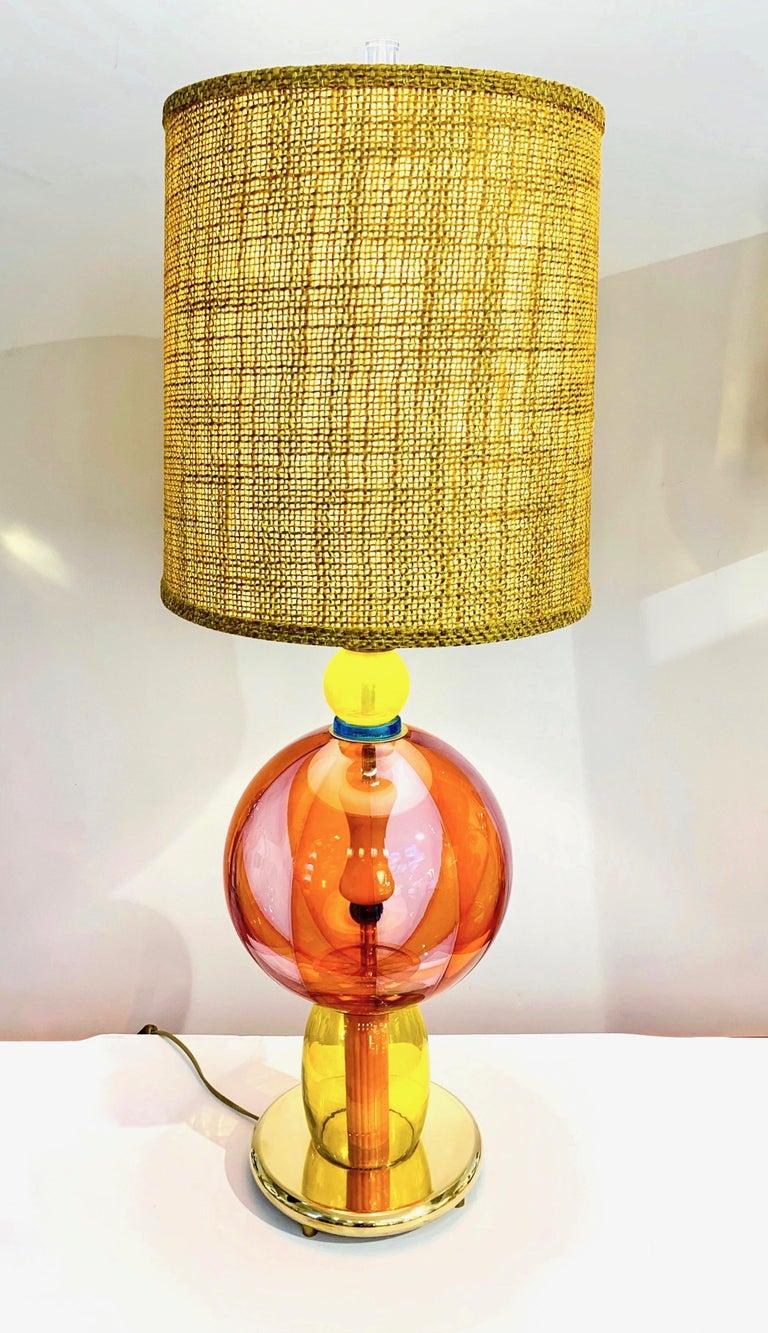1980s Italian Memphis Inspired Orange Yellow Murano Glass Postmodern Lamp 2