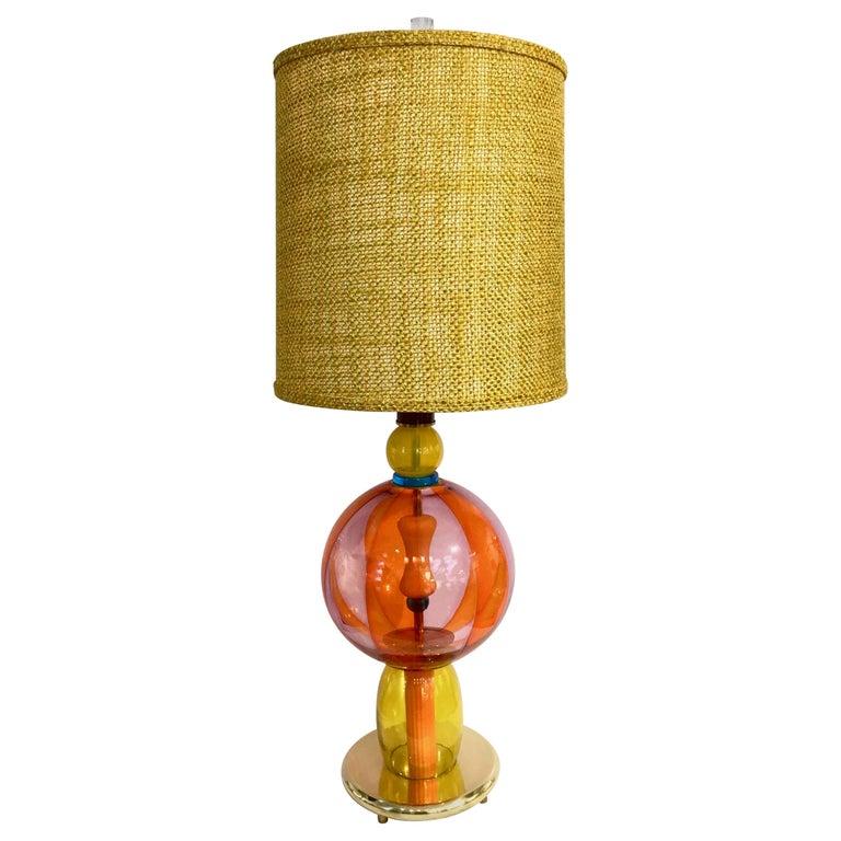 1980s Italian Memphis Inspired Orange Yellow Murano Glass Postmodern Lamp