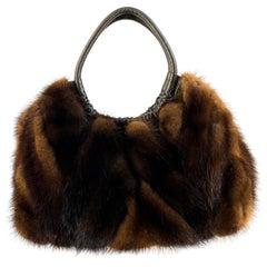 1980s Italian Mink and Leather Handbag
